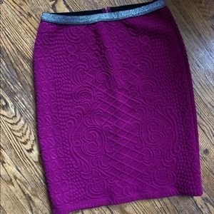 Quilted, fuschia pencil skirt